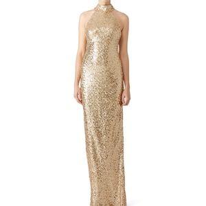 Badgley Mischka Gold Sequin High Neck Gown